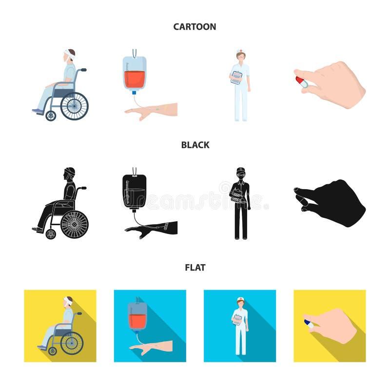 Inválido com traumatismo, transfusão de sangue, doutor, medicamentação nas mãos de um doutor Ícones da coleção de Medicineset den ilustração do vetor
