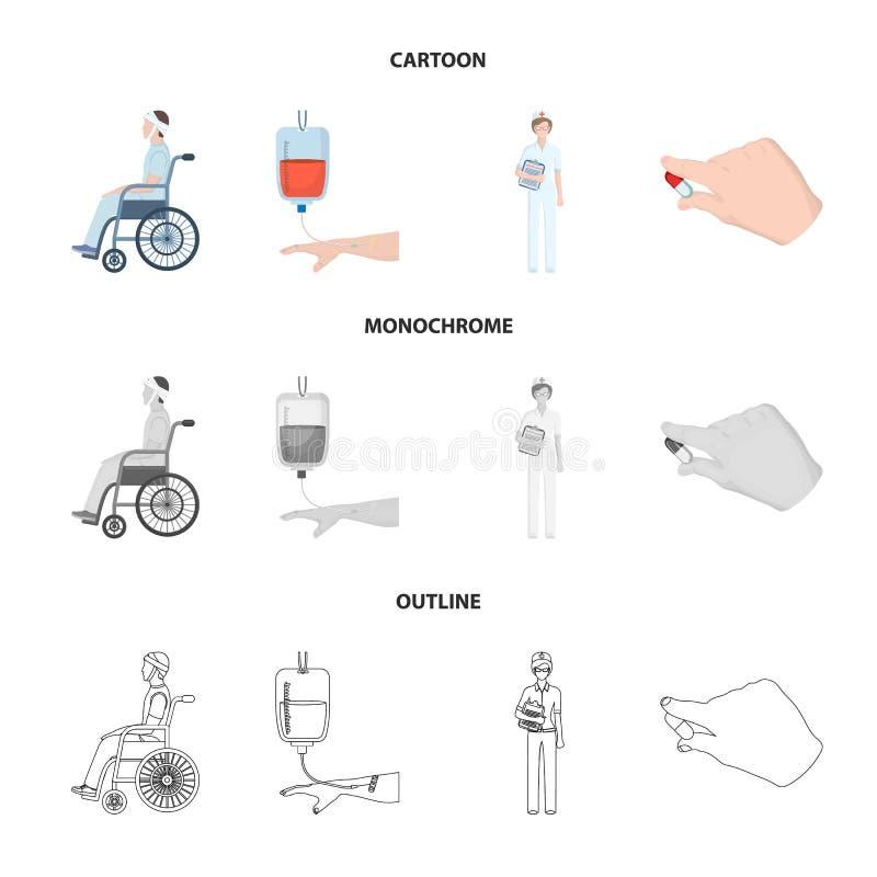 Inválido com traumatismo, transfusão de sangue, doutor, medicamentação nas mãos de um doutor Ícones da coleção de Medicineset den ilustração royalty free