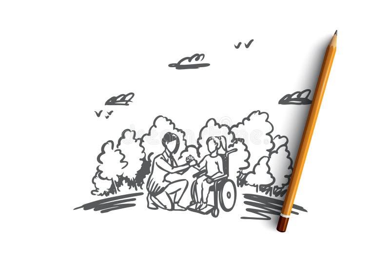 Inválido, enfermos, ajuda, medicina, conceito do hospital Vetor isolado tirado mão ilustração do vetor