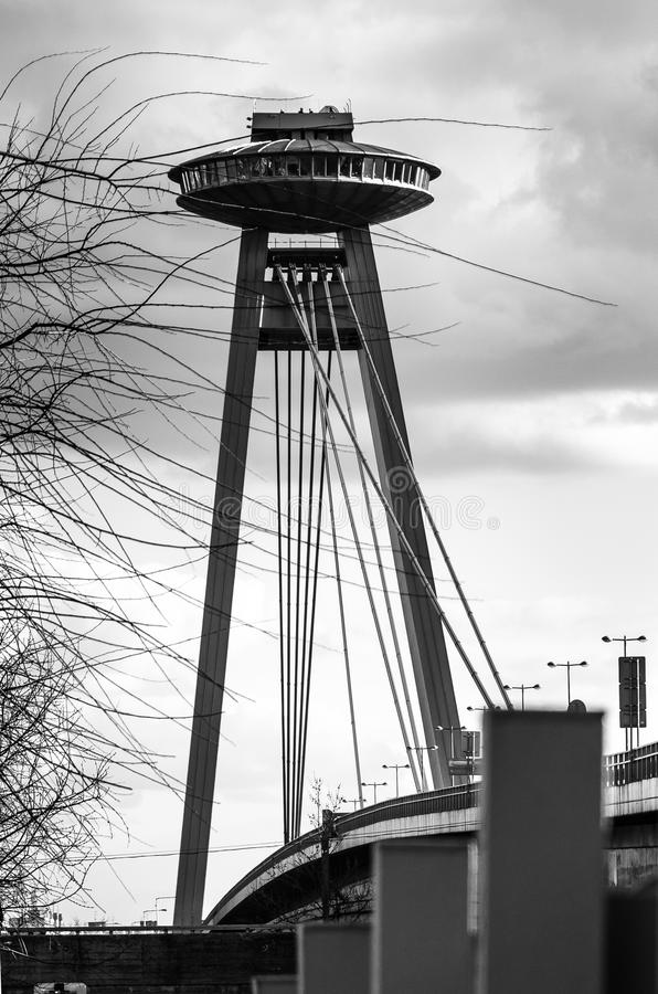 Invázia. Bratislava ufo restaurant monument on bridge royalty free stock photo