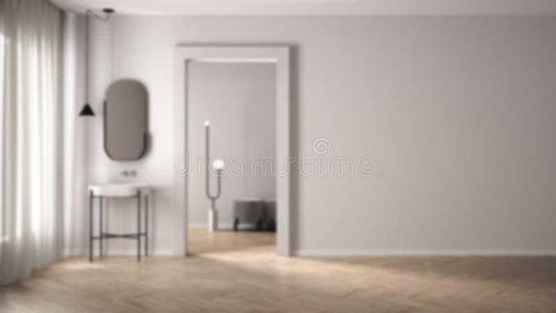 Invändig design för oskärpa i bakgrunden: Minimalistiskt badrum, gipsväggar och parkettgolv, tomt rum med skikt och spegel, dörr  vektor illustrationer