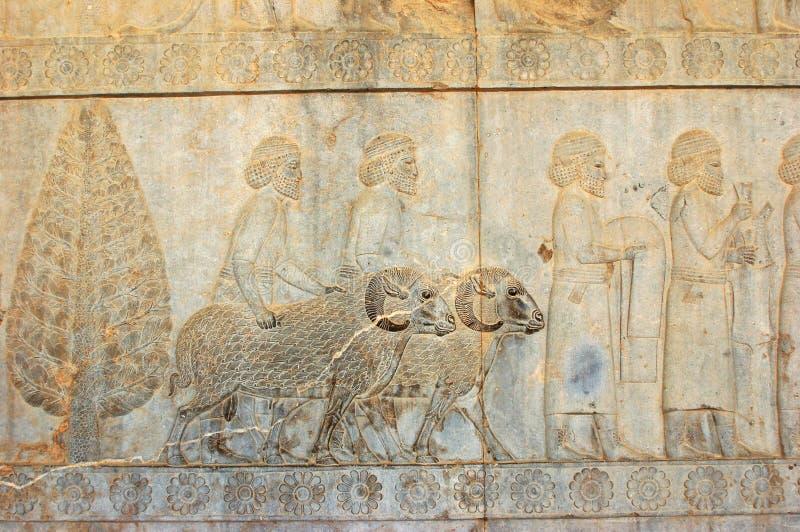 Invånare av historisk välde med djur, Iran royaltyfri bild