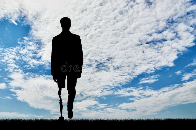 invalids的修复的概念与义肢腿的 免版税库存照片