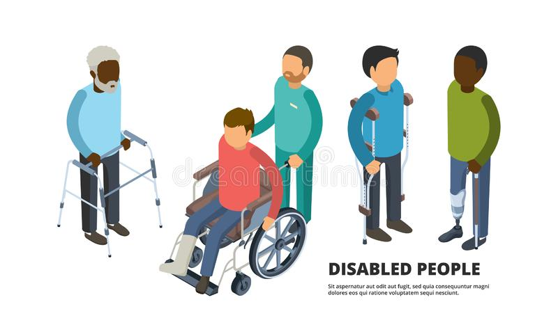 Invalids isometrico Gente adulta difettosa con il paziente della medicina delle gambe rotte nella sanità di vettore 3d della sedi royalty illustrazione gratis