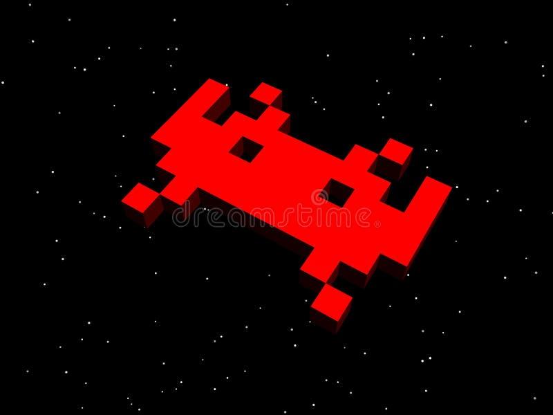 Invallers, ruimteinvallers! Rood vreemd schip vector illustratie