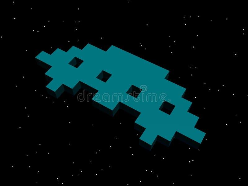 Invallers, ruimteinvallers! Turkoois vreemd schip stock illustratie