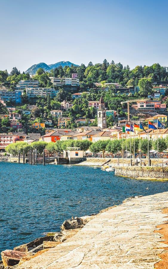 Invallning av Ascona i Ticino av Schweiz arkivfoto