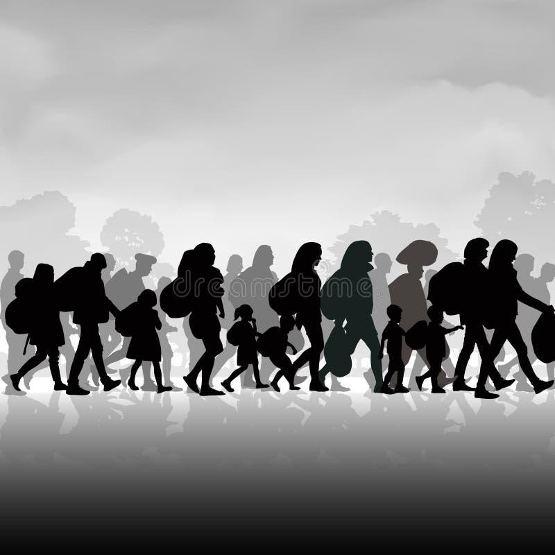Invandringfolk stock illustrationer