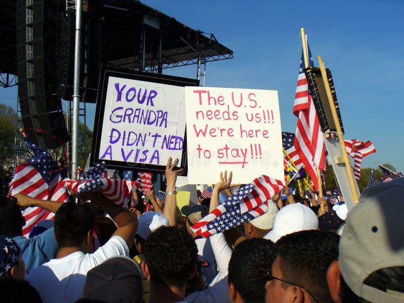 invandringprotest royaltyfri foto