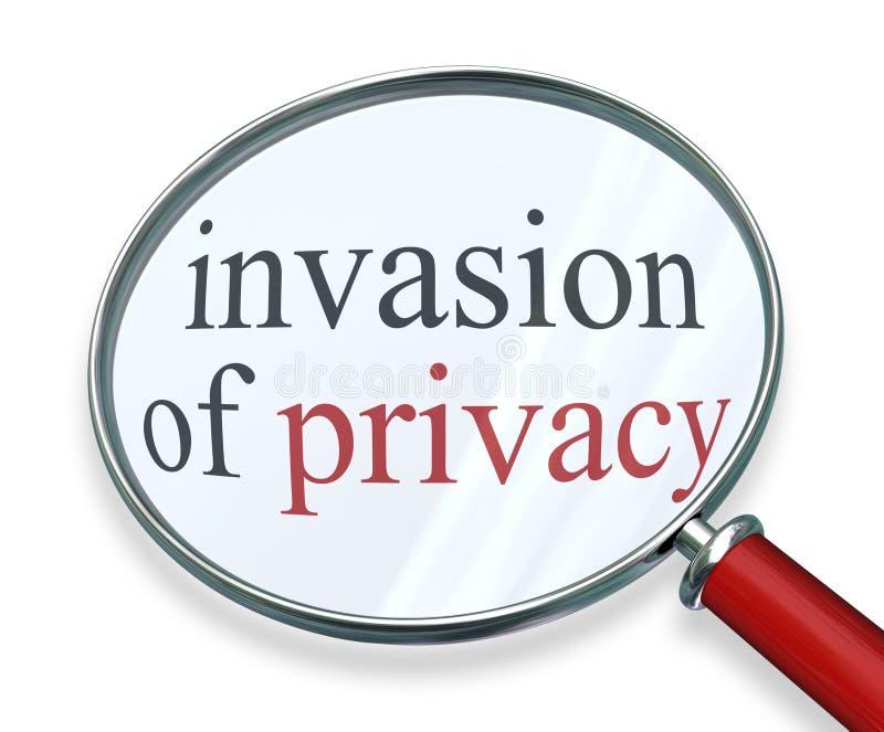 Invansion van de Woorden Privé Informatie van het Privacyvergrootglas stock illustratie
