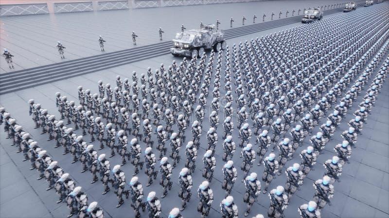 Invasão de robôs militares Conceito realístico super do apocalipse dramático futuro rendição 3d ilustração royalty free