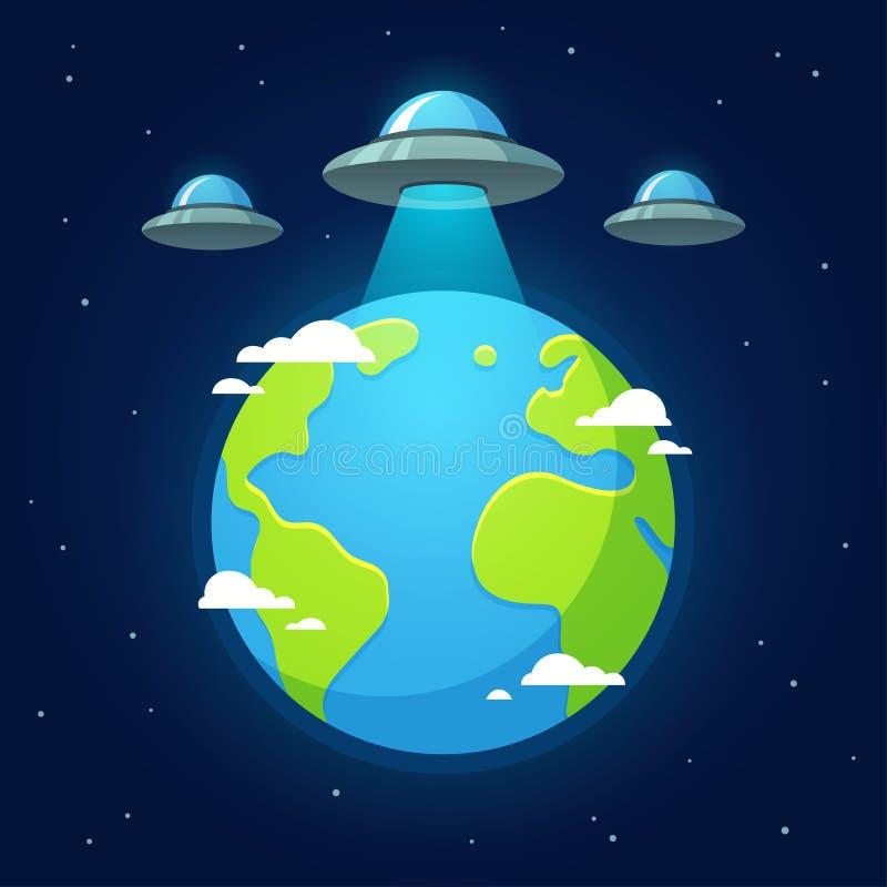 Invasão do estrangeiro do UFO ilustração stock