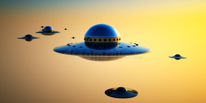 Invasão do UFO ilustração royalty free