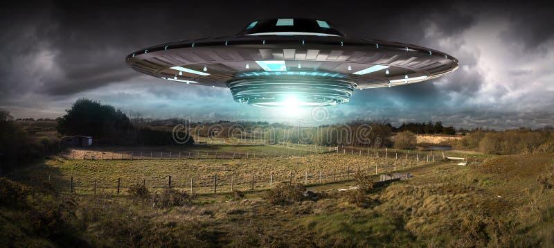 Invasão do UFO na rendição do landascape 3D da terra do planeta ilustração stock