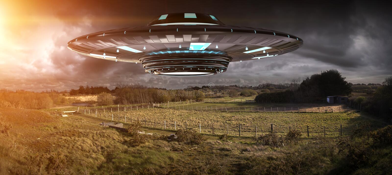 Invasão do UFO na rendição do landascape 3D da terra do planeta ilustração royalty free