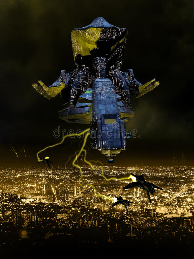 Invasão estrangeira da noite ilustração stock
