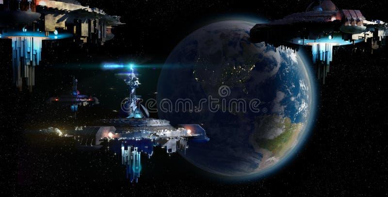 Invasão estrangeira do UFO que aproxima a terra ilustração royalty free