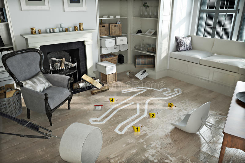 Invasão home, cena do crime no destruída fornecido em casa ilustração stock