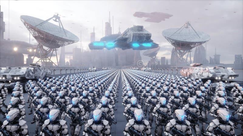 Invasión de robots militares Concepto realista estupendo de la apocalipsis dramática futuro representación 3d stock de ilustración