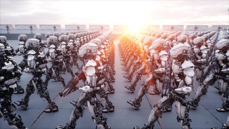Invasie van militaire robots Dramatisch apocalyps super realistisch concept toekomst het 3d teruggeven vector illustratie