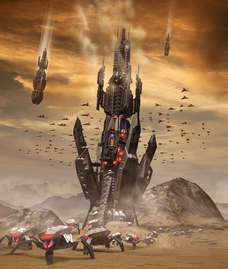 Invasion étrangère d'espace extra-atmosphérique sur terre illustration libre de droits