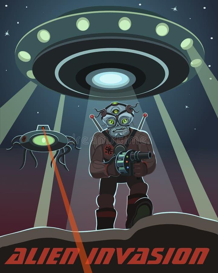 Invasion av främmande varelser vektor illustrationer