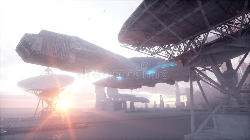 Invasion av militära robotar Toppet realistiskt begrepp för dramatisk apokalyps framtid framförande 3d stock illustrationer