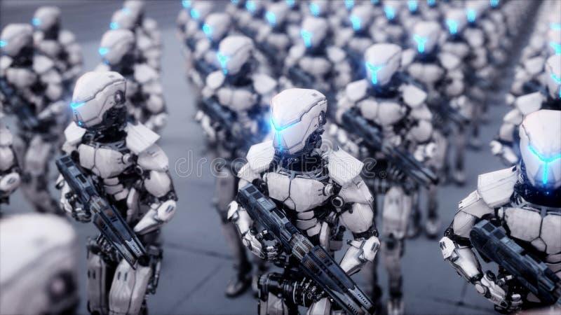 Invasion av militära robotar Toppet realistiskt begrepp för dramatisk apokalyps framtid framförande 3d vektor illustrationer