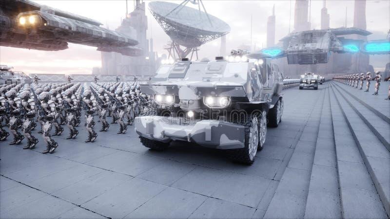 Invasion av militära robotar Toppet realistiskt begrepp för dramatisk apokalyps framtid framförande 3d royaltyfri illustrationer