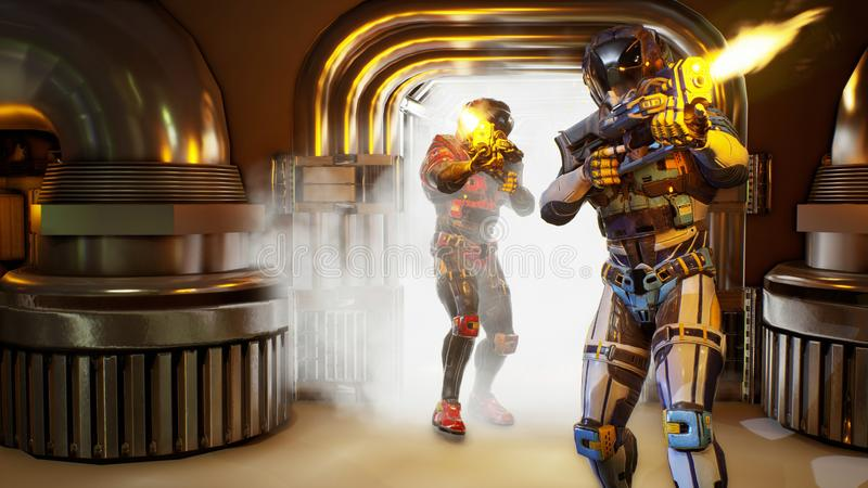 Invasion av militära soldat-astronaut Dramatiskt toppet realistiskt begrepp framförande 3d royaltyfri illustrationer