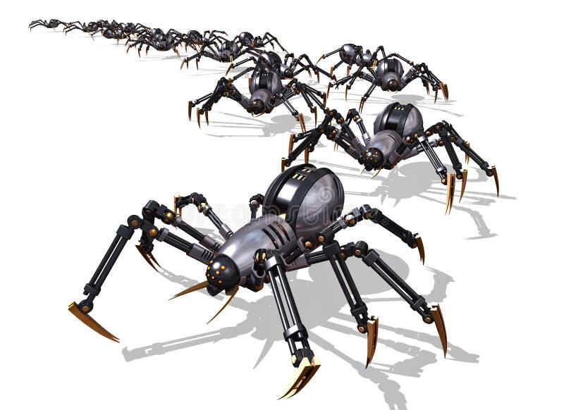 Invasion av RoboSpidersen royaltyfri illustrationer