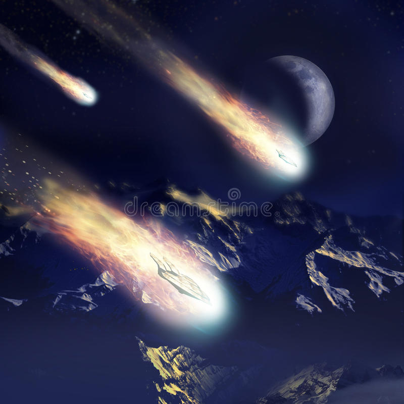 Invasion coming from the stars stock illustration