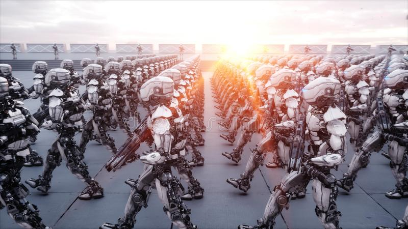 Invasion of military robots. Dramatic apocalypse super realistic concept. Future. 3d rendering. Invasion of military robots. Dramatic apocalypse super realistic vector illustration