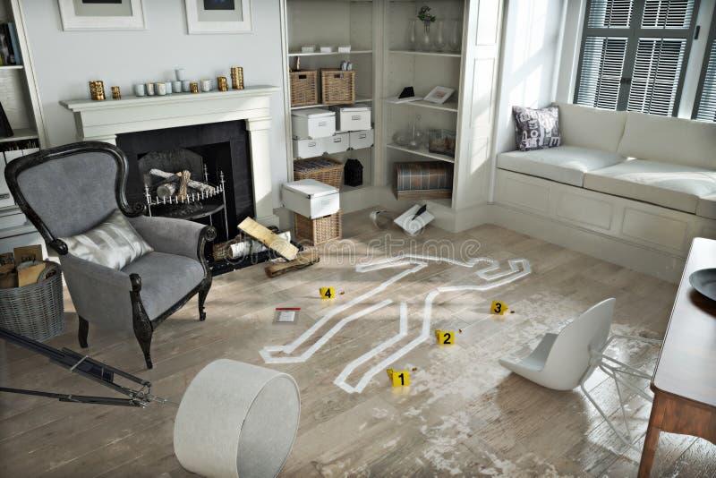 Invasione domestica, scena del crimine in demolita ammobiliato a casa illustrazione di stock