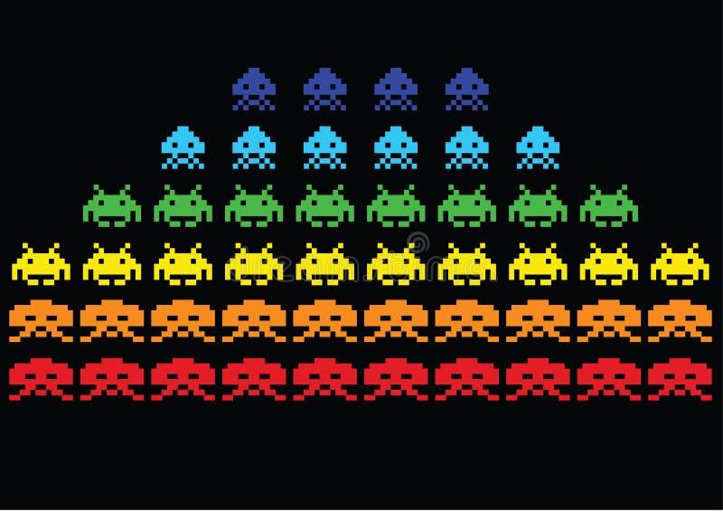 Invasores do espaço ilustração do vetor