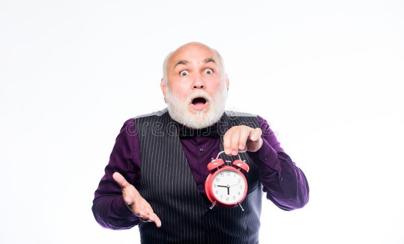 Invecchiamento di vita ed ottenere più vecchio Il tempo non risparmia chiunque Concetto di età e di tempo Ticchettio barbuto dell fotografia stock libera da diritti