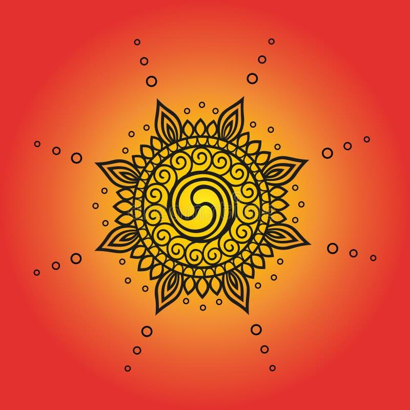 Invecklad översiktsteckning av emblemet av solen stock illustrationer