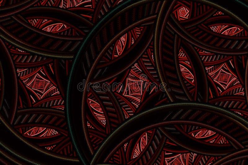 Invecklad abstrakt fractal Färgrik blom- modell med cirklar och kurvor royaltyfri illustrationer