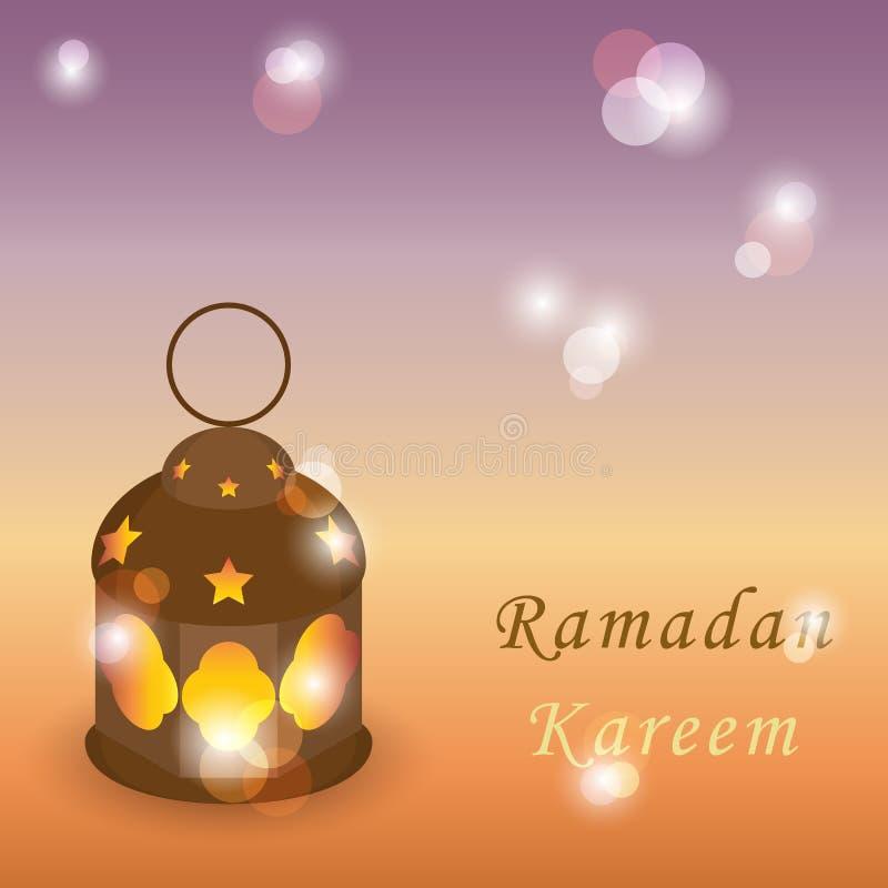 Invecklad arabisk lampa med lampor på blank bakgrund hälsning vektor illustrationer