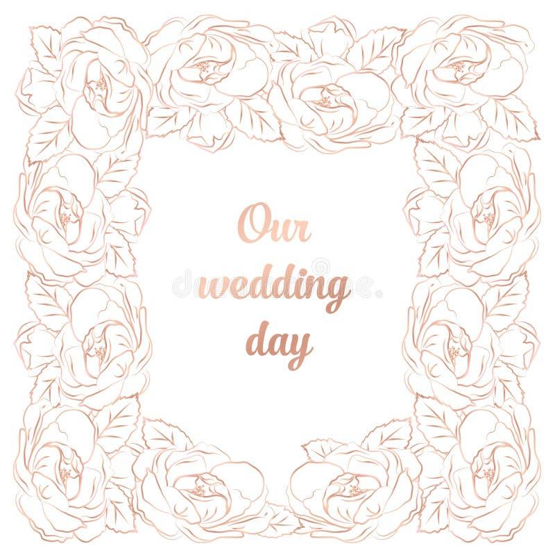 Invecklat barockt lyxigt bröllopinbjudankort, rosa guld- dekor för rich på vit bakgrund med ramen och ställe för text vektor illustrationer
