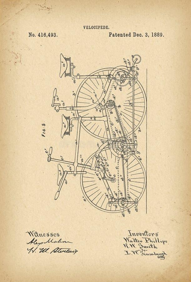 Invenção arquivística da história da bicicleta do Velocipede de 1889 patentes ilustração royalty free