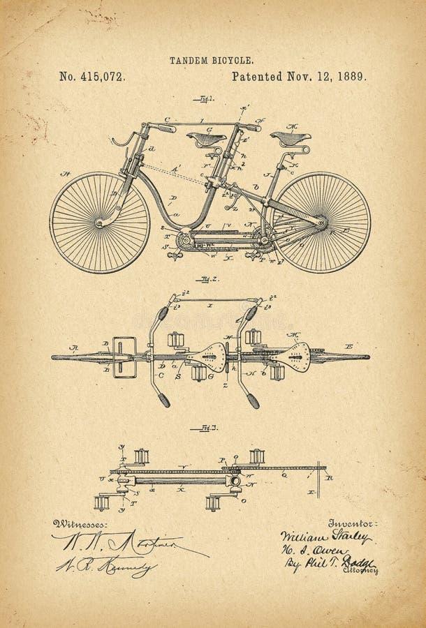 Invenção arquivística da história da bicicleta em tandem do Velocipede de 1889 patentes ilustração do vetor