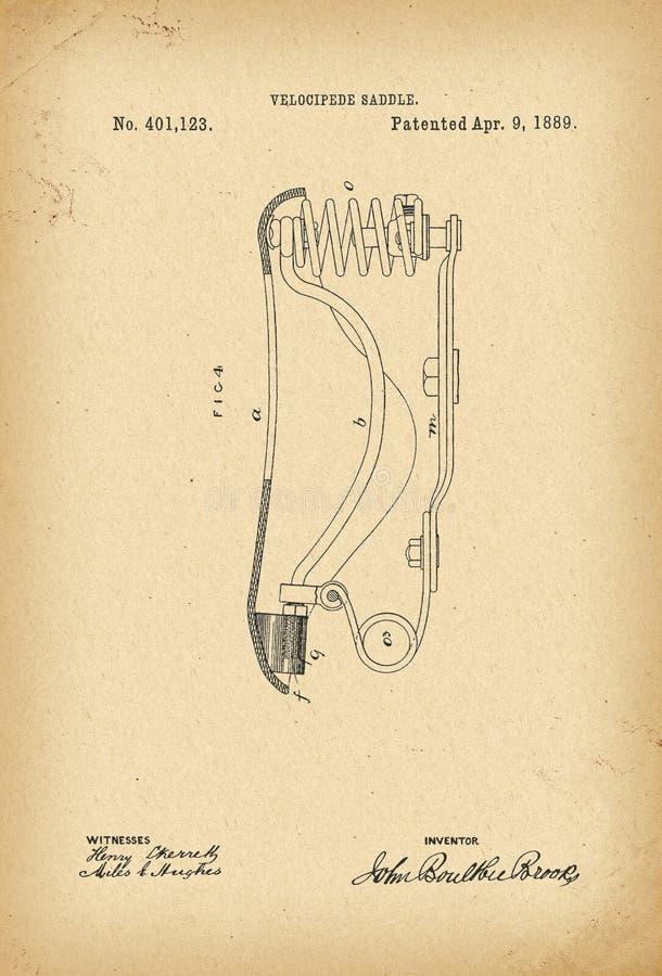 Invenção arquivística da história da bicicleta da sela do Velocipede de 1889 patentes ilustração do vetor