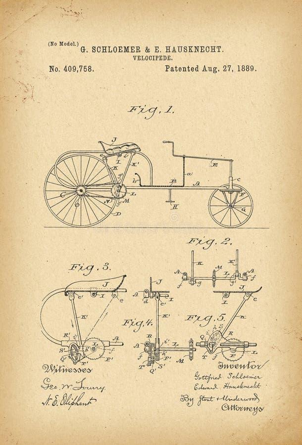 Invenção da bicicleta do Velocipede de 1889 patentes ilustração do vetor