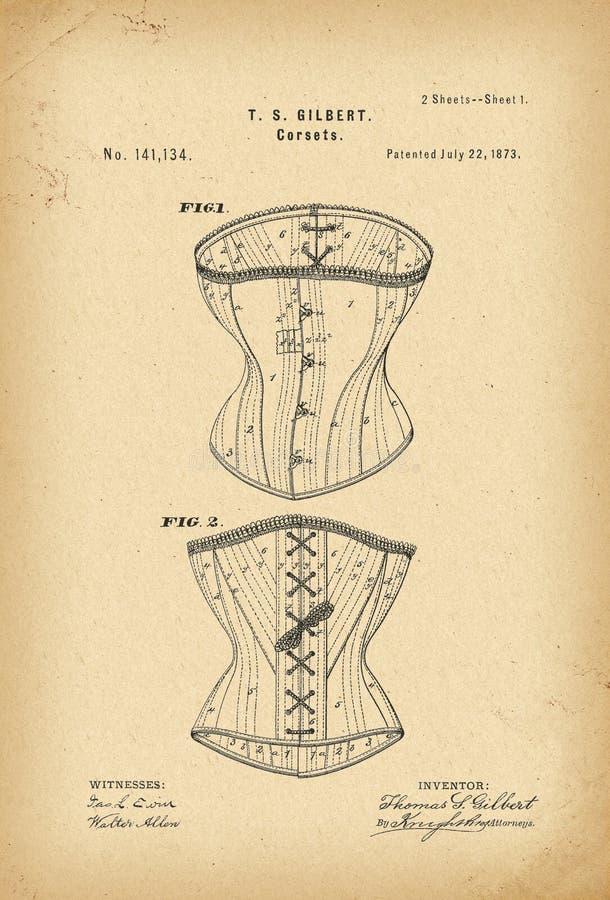 Invenção da forma da história do espartilho de 1873 patentes fotos de stock