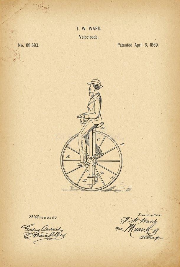 Invenção da história da bicicleta do Velocipede de 1869 patentes ilustração do vetor