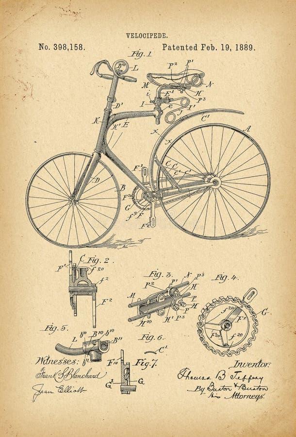 Invenção da história da bicicleta do Velocipede de 1889 patentes ilustração stock