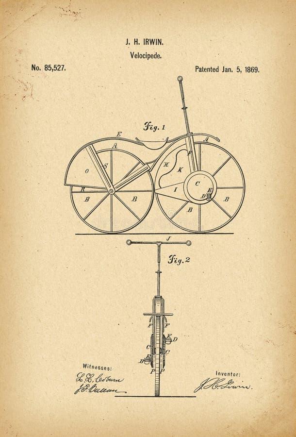 Invención de la historia de la bicicleta del velocípedo de 1869 patentes stock de ilustración