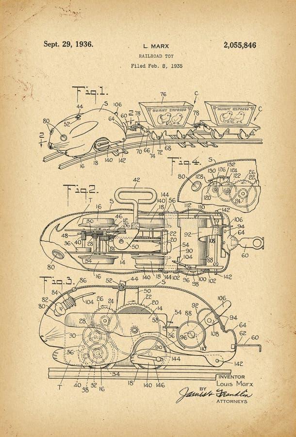Invención de la historia del juguete del ferrocarril del conejo de Pascua de 1935 patentes foto de archivo