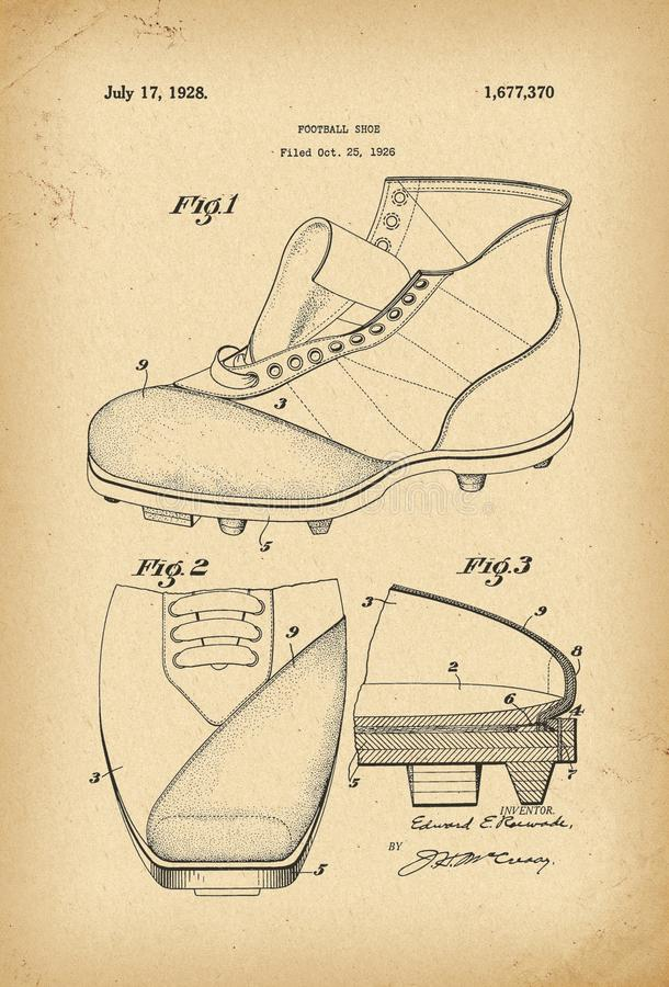 Invención 1926 de la historia de la patente del zapato del fútbol imagen de archivo libre de regalías